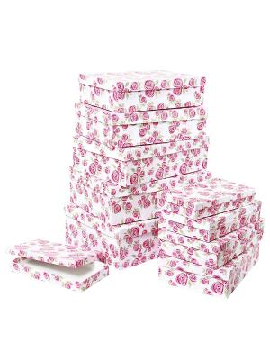 Набор из 10 картонных коробок 23*13*3-36,5*26,5*12см, Розовая графика VELD-CO. Цвет: розовый