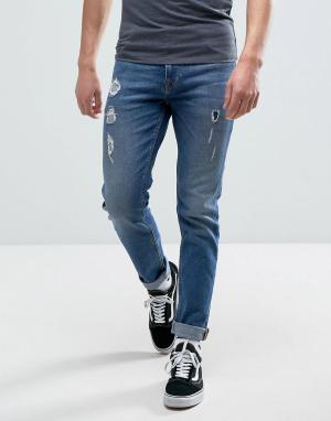ASOS Синие рваные джинсы скинни. Цвет: синий