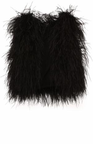 Жилет прямого кроя с отделкой из пера страуса Elie Saab. Цвет: черный
