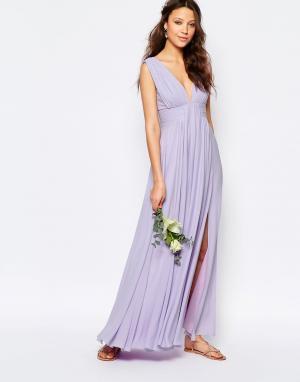 Fame and Partners Tall Платье макси с вырезом на спине Valencia. Цвет: фиолетовый