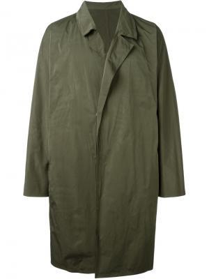 Свободное пальто System Homme. Цвет: зелёный
