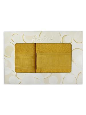 Комплект махровых полотенец в подарочной упаковке ZLATA KORUNKA. Цвет: желтый