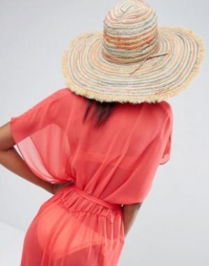 Hat Attack Пляжная шляпа в полоску с бахромой. Цвет: бежевый