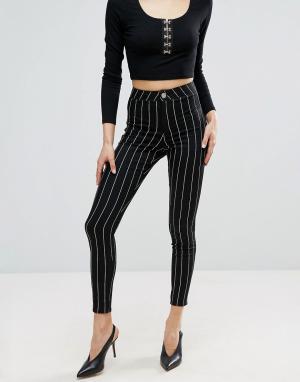 ASOS Черные джинсовые джеггинсы в полоску с завышенной талией RIVINGTO. Цвет: черный