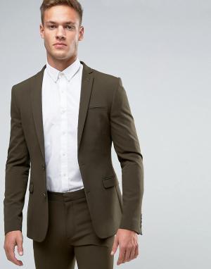 ASOS Супероблегающий пиджак цвета хаки. Цвет: зеленый