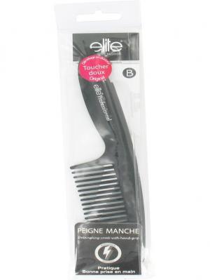 Расческа парикмахерская с длинными зубьями, ручкой ELITE.. Цвет: черный