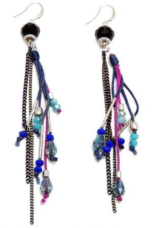 Серьги Boho Chic. Цвет: серебряный, черный, фиолетовый