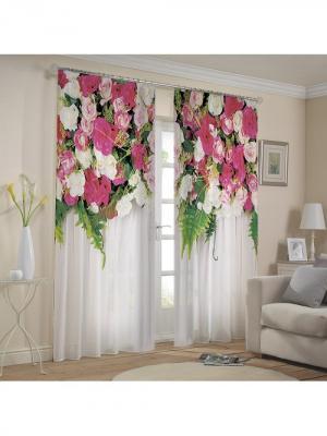 Комплект штор габардин  Роял 150*270 (2) МарТекс. Цвет: розовый, белый