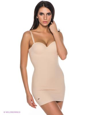 Нижнее платье с корректирующим эффектом Charmante. Цвет: бежевый