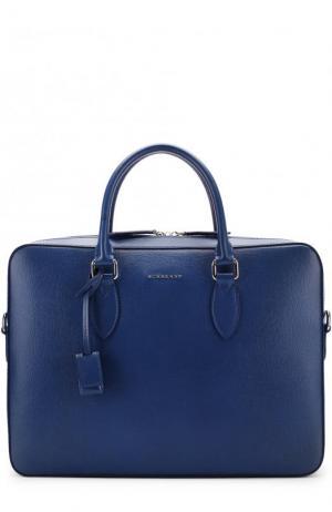 Кожаная сумка для ноутбука с плечевым ремнем Burberry. Цвет: синий