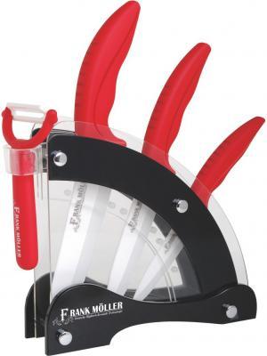 Набор ножей керамических с овощечисткой на подставке, 5 предметов, эргоном. ручки FRANK MOLLER. Цвет: красный