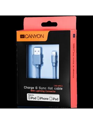 Ультра - плоский кабель MFI (сертифицированный компанией Apple) CANYON CNS-MFIC2DG. Цвет: темно-серый