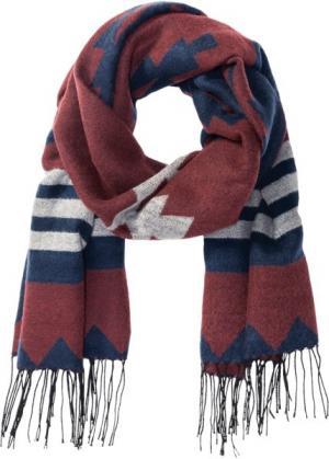 Шаль с принтом (красный каштан/насыщенный синий/серый меланж) bonprix. Цвет: красный каштан/насыщенный синий/серый меланж