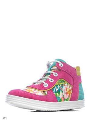 Ботинки ELEGAMI. Цвет: фуксия, бирюзовый