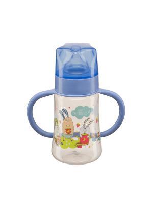 Бутылочка для кормления с ручками и силиконовой соской BABY BOTTLE Happy. Цвет: синий