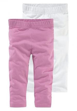 Леггинсы длины 3/4  (набор из 2 шт.) CFL. Цвет: розовый + белый