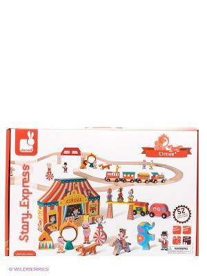 Игровой набор Цирк (19 игрушек, поезд, ж/д из 26 элементов) Janod. Цвет: красный