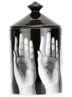Свеча с принтом ладоней Fornasetti. Цвет: чёрный
