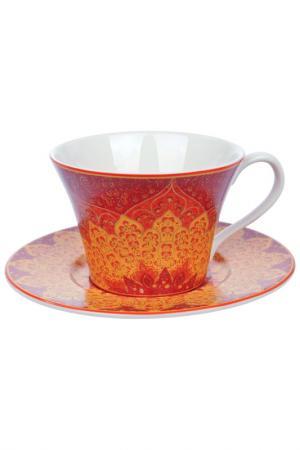 Чашка с блюдцем, 250 мл Elff Decoration. Цвет: белый, оранжевый