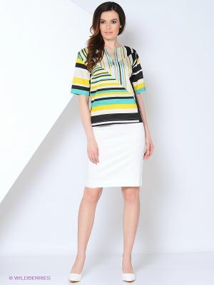 Блузка Femme. Цвет: бирюзовый, желтый, белый, черный
