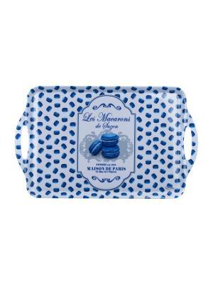 Поднос кухонный 48,5 х 29,5 см,  Миндальное печенье Сюзанны Orval. Цвет: синий, белый