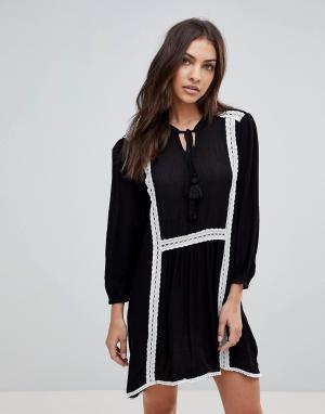 The English Factory Свободное платье с длинными рукавами и кружевной отделкой. Цвет: черный