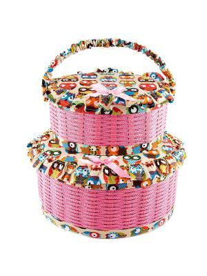 Набор шкатулок для рукоделия из 2-х шт. Русские подарки. Цвет: малиновый, бежевый