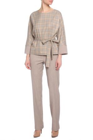 Костюм: блуза, брюки Adzhedo. Цвет: бежевый, клетка