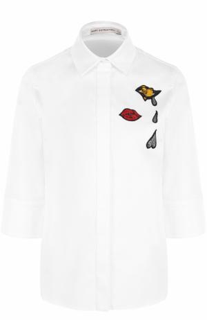 Хлопковая блуза с укороченным рукавом и вышивкой Mary Katrantzou. Цвет: белый