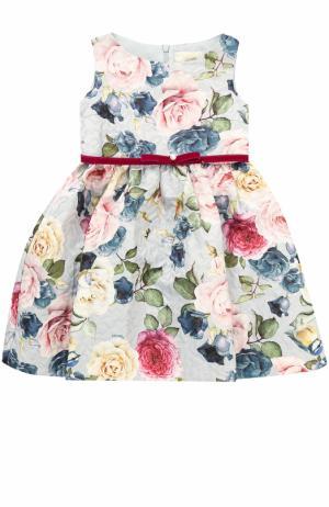 Мини-платье с принтом и поясом из велюра Monnalisa. Цвет: серый