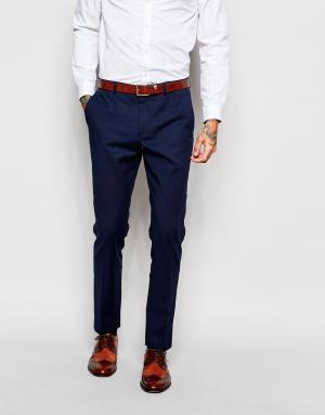 ASOS Темно-синие облегающие брюки. Цвет: темно-синий