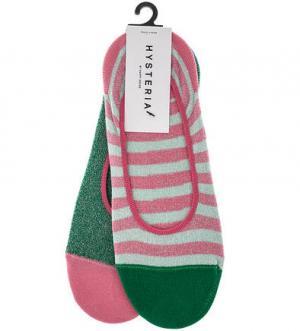Комплект из двух пар коротких хлопковых носков Happy Socks. Цвет: розовый