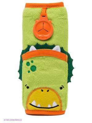 Накладка-чехол для ремня безопасности в авто, ДИНОЗАВР TRUNKI. Цвет: салатовый, зеленый, оранжевый