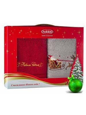 Махровое полотенце в коробке 50х90*2 Новый год, V5 HOBBY HOME COLLECTION. Цвет: светло-серый, красный