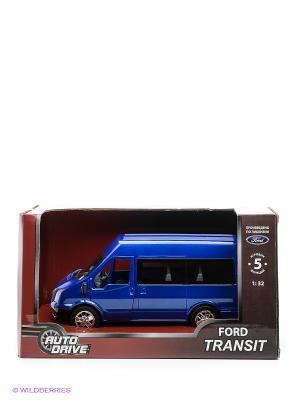Форд Транзит 1:32, инерц., пластиковая машинка AUTODRIVE. Цвет: темно-синий