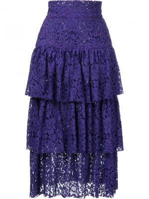 Ярусная юбка миди Bambah. Цвет: розовый и фиолетовый
