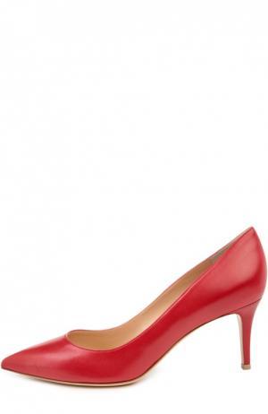 Кожаные туфли Gianvito 70 на шпильке Rossi. Цвет: красный