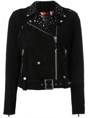 Укороченная байкерская куртка Htc Hollywood Trading Company. Цвет: чёрный