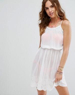 Matthew Williamson Пляжное платье на бретелях с отделкой кроше Butterfly By Willi. Цвет: белый