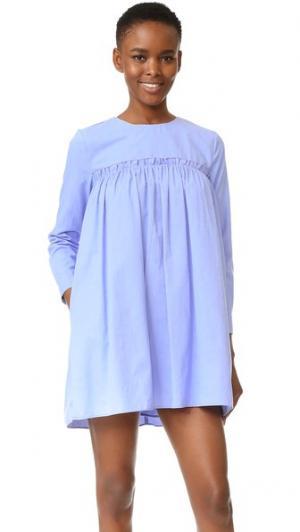 Платье-комбинация со сборками ENGLISH FACTORY. Цвет: голубой