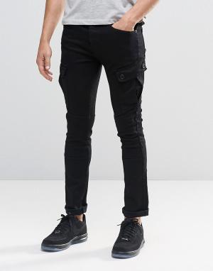 Loyalty & Faith Черные зауженные джинсы-карго. Цвет: черный