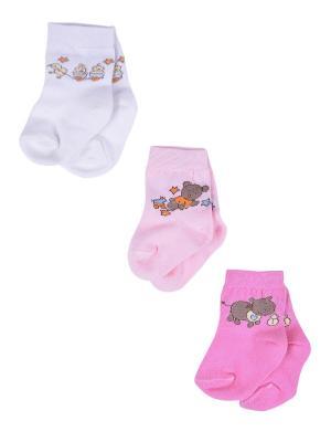 Носки Детские,комплект 3шт Malerba. Цвет: розовый, белый