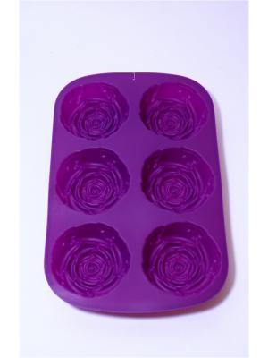 Форма силиконовая 6 ячеек, 28x18x3см, Розы. Vetta. Цвет: фиолетовый