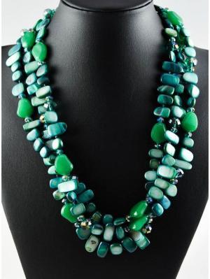 Бусы Miss Bijou. Цвет: зеленый, морская волна, темно-зеленый, бирюзовый