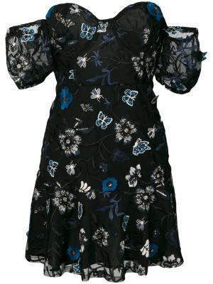 Платье без бретелей с вышивками For Love And Lemons. Цвет: чёрный