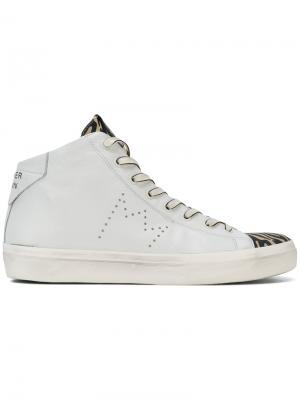 Hi-top zebra sneakers Leather Crown. Цвет: белый