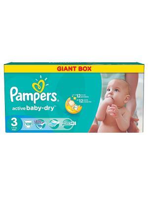 Подгузники Active Baby-Dry 5-9 кг, 3 размер, 108 шт. Pampers. Цвет: зеленый