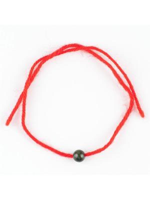 Браслет Красная нить змеевик Колечки. Цвет: зеленый