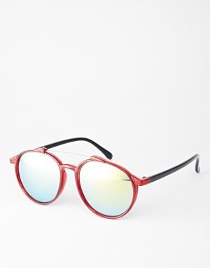 Trip Круглые солнцезащитные очки с металлической отделкой. Цвет: красный