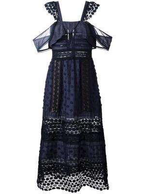 Платье с вышивкой и открытыми плечами Self-Portrait. Цвет: синий